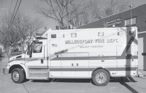 Millersport Fire Department recently took delivery of a 2007 Horton medic. The $179,000 squad is diesel-powered and provides more room for medics to treat patients. When it goes into service next week, it will replace a 1999 model with 115,000 miles as the 'first out' unit. The department's 'first out' unit at the FairfieldBeach station is a 1993 model with 72,000 miles. The Village of Millersport borrowed $160,000 to fund the purchase with another $10,000 coming from the annual equipment allocation from Walnut Township. Beacon photo by Charles Prince.