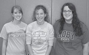 Liberty Union High School: Liberty Union High School senior Kenzie George (left) is this year's salutatorian, and Beth Underwood (center) and Rachel Foltz (right) share the title of valedictorian.
