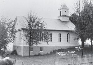 This frame church was built in 1844. Thornville United Methodist's current brick church was built in front of this church and dedicated in 1921. Courtesy photo.
