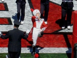 Lakewood graduate Josh Halter, son of Mike and Kim Halter, struts after leading The Ohio State University Marching Band in one of four script Ohio's during last Saturday's OSU and Youngstown State football game. Courtesy photo.