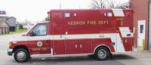 Hebron Fire Department took delivery of a new Horton Emergency Systems medic on November 14. The diesel-powered Ford chassis made its first runs Nov. 15. Horton builds its medic boxes in Grove City. The new Medic 2 replaces a 1992 Horton with 99,726 miles. The current Medic 1 is a 2003 Horton model with 55,769 miles. Union Township purchased the new medic for just under $140,000. The old Medic 2 was also purchased by the township for about $52,000 in 1992. The department tries to limit each medic to about 10,000 miles a year, hoping to get at least 10 years of service out of each vehicle. Beacon photo by Charles Prince.