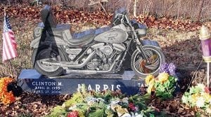 Friends of Clint and Tami Harris have raised over $800 in a little over a week toward paying off a $1,764 balance due for their unique Harley monument at the York Street Cemetery in Harrison Township. Beacon photo by Charles Prince.