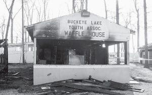 The Buckeye Lake Youth Association's Waffle House stand at the Sweet Corn Festival grounds in Millersport was destroyed Dec. 26 after it was set on fire. The Association also lost all its waffle-making equipment. Beacon filephoto.