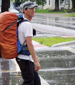 Stephen Horn of Colorado made it to Kirkersville Tuesday on his some 1,500 mile walk from the Colorado Statehouse in Denver to the U. S. Capitol in Washington, D.C. He left Denver on April 2 to show his support for our troops, to