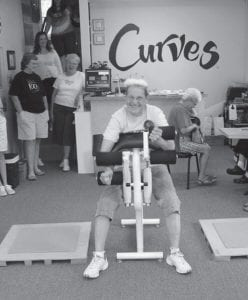 MOTIVATED -  Never accused of being a couch potato, Jenny Thompson, 68, of Baltimore celebrated her 1,000th workout at the Buckeye Lake Curves center June 16. Thompson has worked out six days per week since August 2004 to reach the impressive milestone. Her favorite exercises are leg squats, bicep curls, and