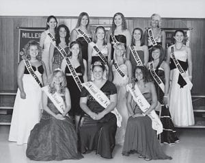 Watkins Memorial Kristen Bartholomew; Miss Logan Anna Keyes; and Miss Lakewood Kara Glaser. Second row, left to right: Miss Berne Union Amy Lower; Miss Millersport Ariel Frizzell; Miss Fairfield Union Olivia Fisher; and Miss Licking Valley Brianna Humphries. Third row, left to right: Miss Bloom Carroll Mariah Black; Miss Sheridan Erica Ardey; Miss New Lexington Ciara Shutts; and Miss Heath Chelsea May. Not pictured are Miss Amanda Clearcreek Amanda McKenzie; Miss Fisher Catholic Madellyn Kennedy; Miss Liberty Union Clara Springer; and Miss Licking Heights Samantha MacDonald. Centerburg High School and Northridge High School had not selected their representatives at the time this photo was taken. Courtesy photo.