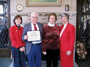 Frank and Doris Laughlin of Hebron receive a Joined Hearts in Giving Award from Ohio Department of Aging Director Barbara Riley (left) and Ohio First Lady Frances Strickland (right).