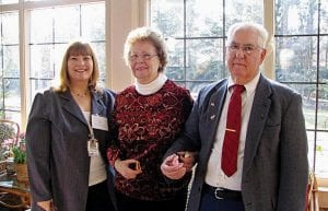 Cheryl Barber (left) nominated Frank and Doris Laughlin of Hebron for the Joined Hearts in Giving Award.
