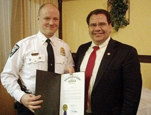 State Senator Tim Shaffer presents Thornville Police Chief Nick Garver with a letter from the Ohio Senate honoring his selection as Perry County's Law Enforcement Community Officer of the Year for 2008. Garver was presented the letter and a plaque during a recent awards banquet at the F.O.P. Lodge in Lancaster. He was nominated and selected by his fellow officers in Perry County. Fairfield County Municipal Judge David A. Trimmer was the guest speaker. Courtesy photo.