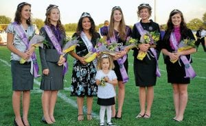 Millersport High School's Homecoming was September 17-19. Festivities began Thursday night with the annual parade, pep rally and bonfire. Each class constructed a float.The Senior float won with the theme of Wrestle Warriors depicting a Millersport Laker in a wrestling ring with a Harvest Prep Warrior. The queen was named at Friday night's football game. Freshman attendant was Madison Stanley, daughter of Frank and Erika Stanley. Nicole Osborn, daughter of David and Cora Osborn, was the Sophomore Attendant. Junior attendant, Cara Woods, is the daughter of Bill Woods and Chrissy Morgan. First senior attendant was Ashley Harris, daughter of Terry and Tammy Harris. Alexandria Reasoner, daughter of Dwayne and Dina Reasoner, was the second senior attendant. The Homecoming Queen was Maria Beltran, daughter of Cathy Snow. The flower girl was Emily Blevins, daughter of Jason and Jennifer Blevins and the crown bearer was Tanner Harris, son of Terry and Tammy Harris. Festivities ended with a great turn-out at the Vegas Escape Homecoming Dance on Saturday night. From left to right above are: Madison Stanley, Nicole Osborn, Queen Maria Beltran, Ashley Harris, Alexandria Reasoner, Cara Woods and Emily Blevins. Courtesy photo.