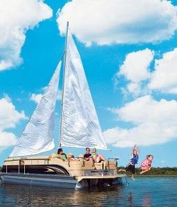 A conceptual 'pontail' cruises Buckeye Lake last summer. Beacon photo illustration by Kendra Edinger.