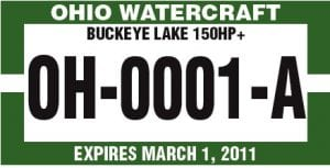 Buckeye Lake horsepower declaration certificates will be green. Two stickers will be provided for placement below the triennial registration stickers.