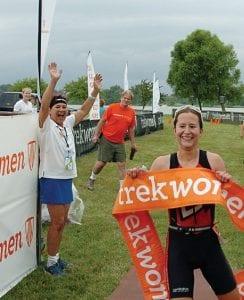 Julie Rechel of Westerville savors her victory in the Columbus Trek Women Triathlon Series event at Buckeye Lake Sunday. Courtesy photo.