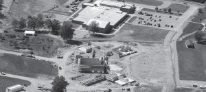 Construction of the new middle school is well underway. Workers are expected to start placing steel roof trusses this week for the gym in the center of the photo. The photo is looking west toward the elementary school Beacon aerial photo by Charles Prince.