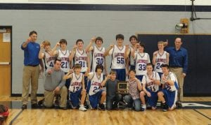 Lakewood Middle School boys basketball team repeats as Mid State League champions. Front row, from left to right, Coach TJ Lyons, Eric Thompson, Andrew Embrey, Dalton Longshore, Devon Carr, Cody Nauer and CJ Dutiel. Back row: Coach Jarrod Maybury, Nick Phillips, Kory Thompson, Jarred Chorpenning, Reece Dupler, Dalyn Loomis, Major Henry; Zac Holbrook, Chris Briggs and Coach Roger Dupler.