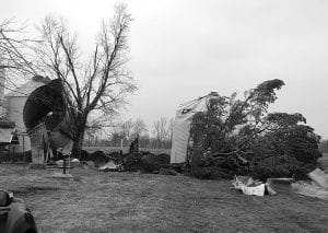 Damage was extensive to a barn and grain silos on the King Farm on Canal Road. Beacon photo by Scott Rawdon.