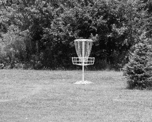 Here's one of the 'Pole Holes' on Hebron's new disc golf course in Evans Park. Beacon photo by Scott Rawdon.
