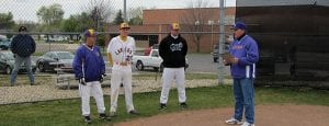 Millersport High School recently honored senior Chris Fry for the improvements he made to the baseball field for his Eagle Scout community service project. The project included adding distance markers to the outfield fence, upgrading the dugouts and building helmet and bat boxes in each dugout. Pictured above, from left to right, are father and assistant coach, Dave Fry; Chris Fry; head baseball coach, Terry Holbert; and principal Jeff Stought. Project supporters were Canal Restaurant, Childcare Express, Cottage Maintenance, Frazier Field Repair, Coach Grandy (outfield signs), Jackie Fry, Harkins Construction, Laura Henestofel - HER, Hometown Hotdog, Keller Chiropractic, Millersport Pharmacy, Pizza Cottage, Quality Rubber Stamp, Roshon Hauling, Tom Jones Insurance, VFW- Buckeye Lake, and Whetstone Medical Clinic. Beacon photo by Charles Prince.