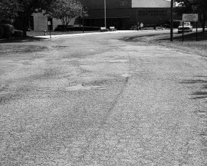 Spires Paving is expected to start resurfacing Laker Drive at Millersport High School next week. If weather cooperates, the project will be completed before school starts Aug. 22. Beacon photo by Charles Prince.