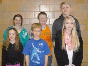 Walnut Township Schools held its district spelling bee Feb. 10. The winners are, from left to right front row, Carrie Carpenter (4th Grade Champion/District Winner), Tyler Hall (4th Grader, District Runner Up), Savannah Benedetti (7th Grade Champion) and back row, Gracie Demolet (5th Grade Champion), Hayden Skipper (6th Grade Champion), Kolton Klowas (8th Grade Champion). Courtesy photo.