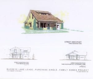 LEADS provided architect's renderings of the single and two-story versions of the single-family homes planned for Buckeye Lake Village. Courtesy photo.