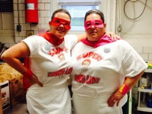 School Lunch Hero Day was May 2 and Hebron Elementary cooks, Susie Hall and Debbie Colley, got into the spirit of the special day. The day honors and thanks schools' lunch staffs nationwide. Courtesy photo.