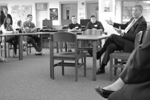 State Superintendent Dr. Richard Ross talks with Sheridan High School students on Sept. 25 about Ohio's straight A Fund grant to the Ohio Appalachian Collaborative. Courtesy photo.