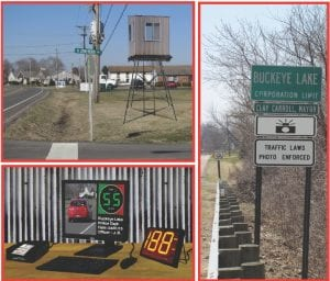Top left, the portable Zack Shack will be moved up and down Ohio 79. Below the Action ® screen displays the video capture that includes the vehicle's license number and speed. The officer just needs to click the mouse within five seconds to issue a citation. Right, Buckeye Lake has installed the warning notices required by SB 342.