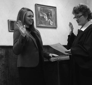 Perry County Judge Luann Cooperrider administered the oath of office to Olivia Newbold on Dec. 22. Courtesy photo.