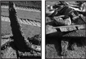 Left, is a piece of the stern. Right center is believed to be part of the cabin roof. Courtesy photos.