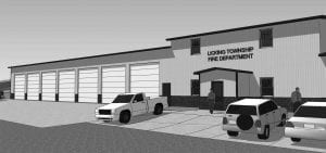 Licking Township Trustees reviewed a preliminary architect's rendering for the proposed Licking Township Fire Company station on Ohio 13 just south of U.S. 40. Rendering courtesy JBA Architects.