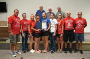 Union Township Trustees also honored the undefeated and Division II State Champion Lakewood Lady Lancers softball team Monday night. The team's grit and determination in putting together an undefeated season after a heartbreaking loss to Granville in the 2015 Division II State Final was lauded. Beacon photo by Scott Rawdon.