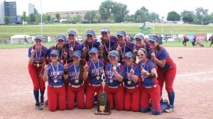 The undefeated 2016 Lakewood Lady Lancers with their Division II State Softball Championship trophy at Akron's Firestone Stadium last June. Beacon photo by Charles Prince.