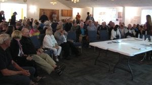 It was standing room only at Wednesday's mid-term presentation on DLZ's Charrette process with Buckeye Lake 2030. Beacon photo by Charles Prince