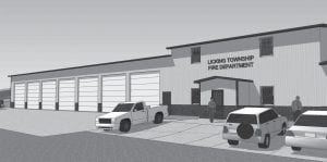 JBA Architects presented this preliminary architect's rendering to Licking Township Trustees last summer. A seventh bay will be added to the left side. The station faces Ohio 13 on the site of the current Station 3. Rendering courtesy JBA.