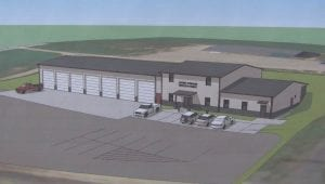 This is JBA Architects's latest rendering of Licking Township's new seven-bay fire station along Ohio 13. Rendering courtesy JBA.