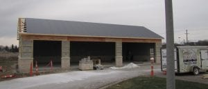 This mid-December photo shows the five-bay police garage about 75 percent finished. Wednesday night, Police Chief Larry Brooks said they hope to begin using the garage next week. The garage, which also includes a large item evidence room, is being funded by a $175,000 bequest from the estate of Thornville resident Jack J. Artz. He left $175,000 each to Thorn Township, Thorn Township EMS, Perry County Sheriff's Office, Millersport EMS, Licking County Humane Society and Hebron Police. Beacon photo by Charles Prince.
