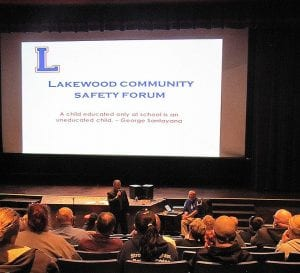 Licking County Sheriff Randy Thorp addresses the safety forum Monday night.